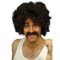 Festivalshop - Afro wig retro with moustache brown - SM42236