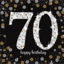 Festivalshop - Servetten Happy Birthday Sparkle 70 jaar - AM511964