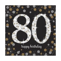 Festivalshop - Servetten Happy Birthday Sparkle 80 jaar - AM511965