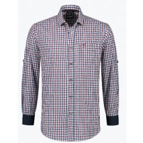 Festivalshop - Tyrolean shirt bordeaux-white-blue check - HH2766XX
