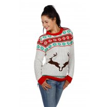 Festivalshop - Ugly Christmas Sweater wit met Rendieren - WI7814