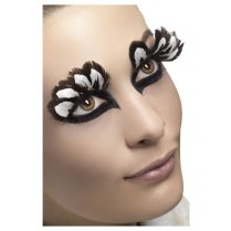Festivalshop - Eyelashes brown / white feathers - SM24255