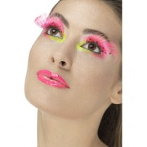 Festivalshop - Wimpers eighties polka dot fluo roze - SM48091